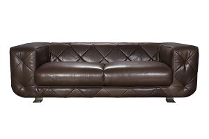 Brown leather sofa for two seats.