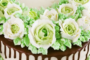 Celebratory cake with roses made of