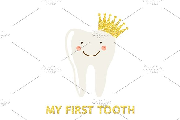 Cute card as funny smiling cartoon character of tooth with crown in Illustrations