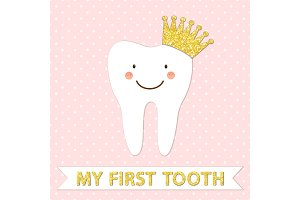 Cute card as funny smiling cartoon character of tooth with crown