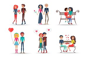Set of Smiling Couples in Love on White Background