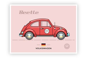 Vintage vector VW Beetle(Bug)