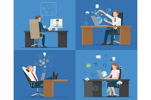 Set of Cards Office Workers Vector Illustration
