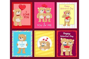 Bears on Festive Postcards for Valentines Day