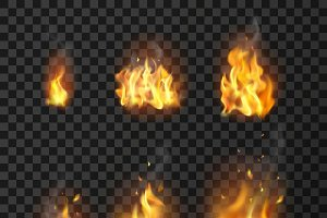 Realistic Fire Flames Set