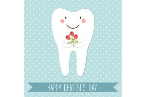 Cute card as funny smiling cartoon character of tooth