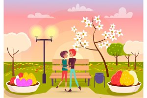 Couple Looks Eyes to Eyes in Park near Streetlight