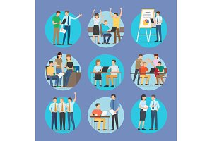 Start Up People Set Poster Vector Illustration