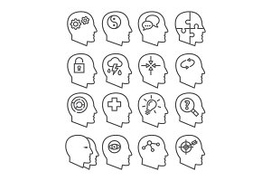 Psychology line vector icons set