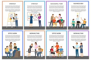 Straregy Business Idea Office Team Work Cards