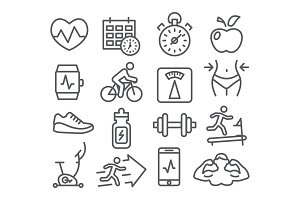 Fitness and Gym line icons