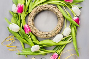 Spring tulips flowers wreath making