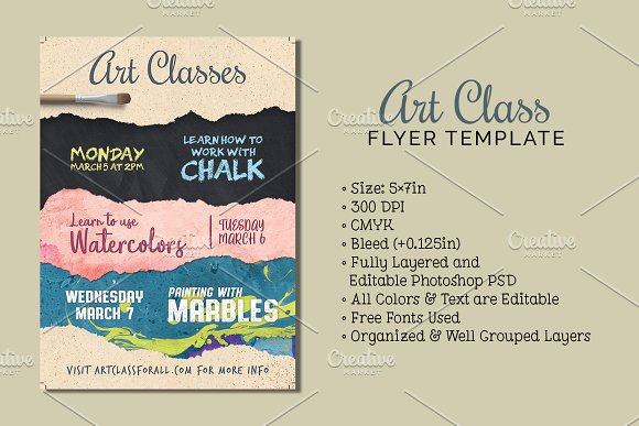 art class flyer template flyer templates creative market