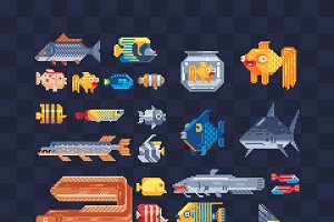 Fish. Pixel art icons