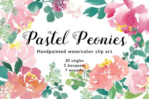 Hand Painted watercolor peony flower