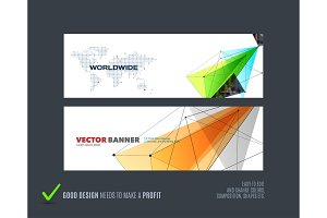 Abstract vector set of modern horizontal website banners with colourful triangle