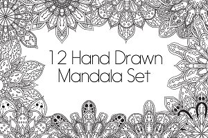 12 Hand Drawn Mandala Set