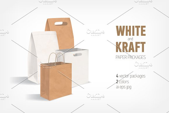 Empty kraft and white paper bags