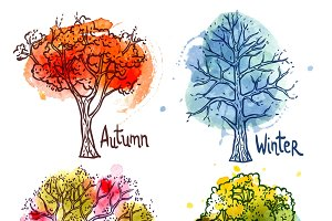 Watercolor year seasons tree set