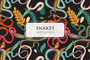 Snakes and leaves seamless pattern