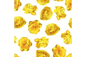 Seamless pattern with fluffy yellow tulips. Beautiful realistic flowers and buds