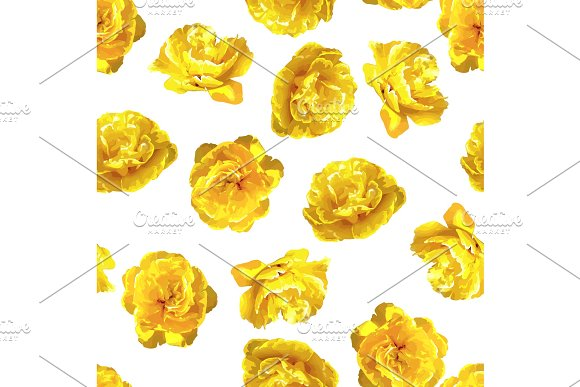 Seamless Pattern With Fluffy Yellow Tulips Beautiful Realistic Flowers And Buds