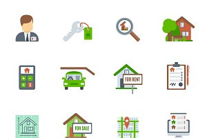 Real estate flat icon set