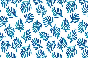 Blue and white seaweed pattern