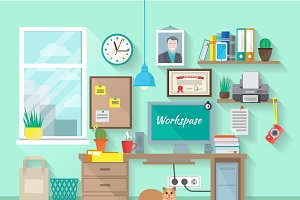 Workplace in room