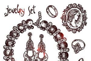 Jewelry and luxury sketch set