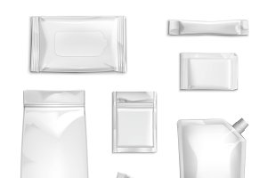 Blank white packaging realistic set