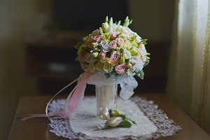 Wonderful wedding luxury bouquet of roses.