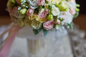 Wonderful wedding luxury bouquet of different flowers