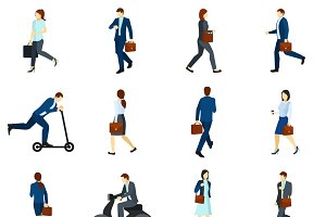 Businesspeople going to work icons