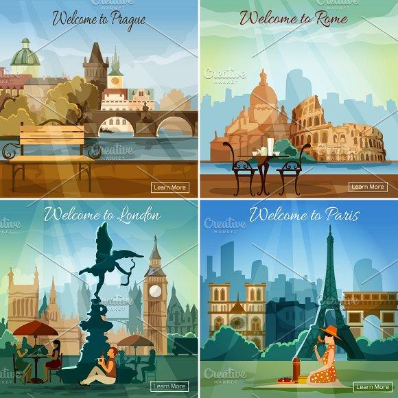 Touristic cities 4 flat composition