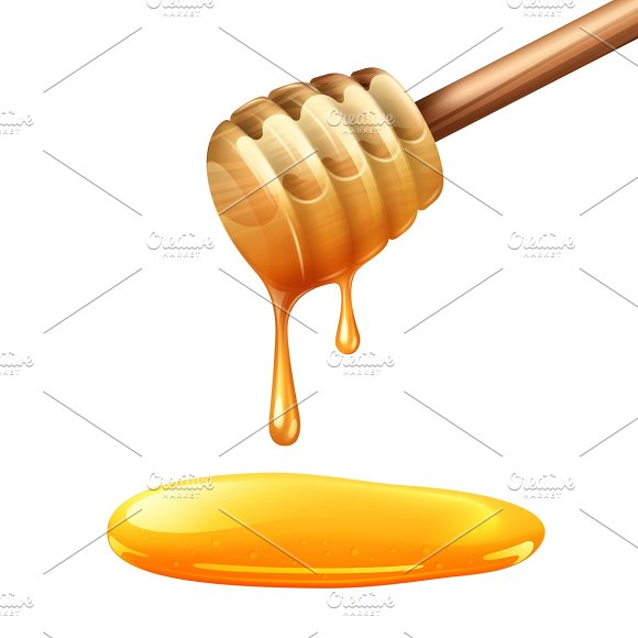 Realistic wooden honey stick