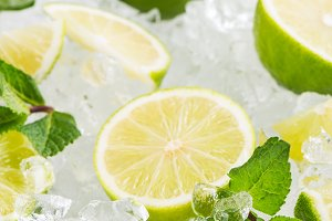 Fresh lime with ice.