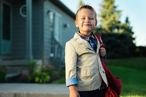little boy ready for school
