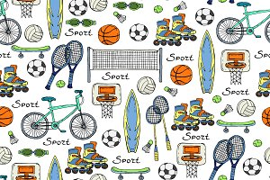 Pattern with sport symbols