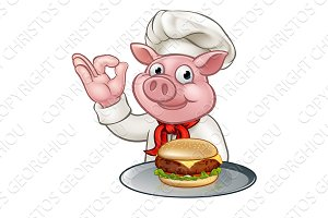 Pig Chef Holding Burger