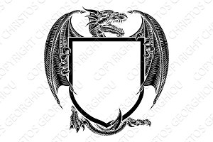 Dragon Crest Coat of Arms Heraldic Emblem Shield
