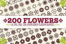 200 Flowers - Vector Shapes Set by Ioan Decean in Shapes
