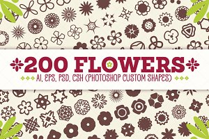 200 Flowers - Vector Shapes Set
