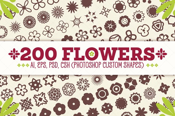 Shapes for Graphic Design: pixaroma - 200 Flowers - Vector Shapes Set