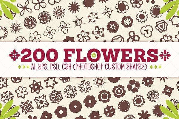 Photoshop Shapes: pixaroma - 200 Flowers - Vector Shapes Set