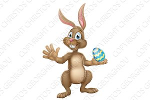 Easter Bunny Rabbit Holding Chocolate Egg