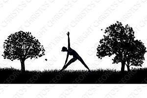 Yoga or Pilates in the Park Silhouette