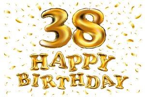 happy birthday 38 golden balloon