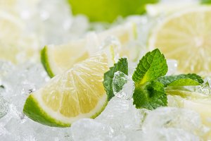 Ice and lime fruits.