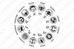 Astrological horoscope zodiac star signs icon set